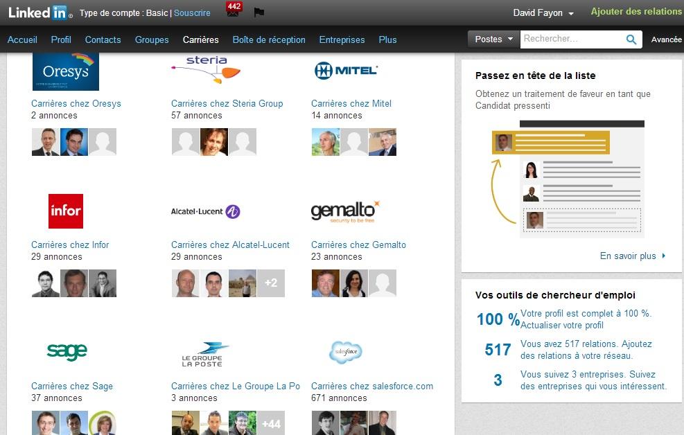 Les offres d'emplois sur LinkedIn relatives à son réseau