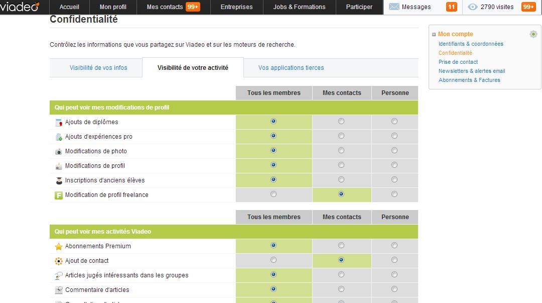 Paramétrage du profil sur Viadeo