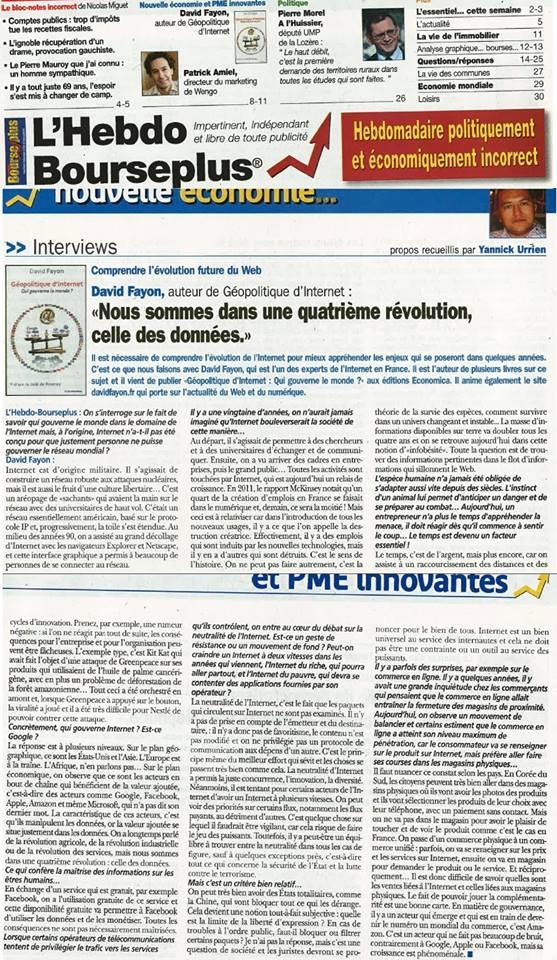 Interview dans Hebdo Bourse Plus