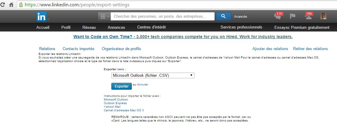 Récupération des adresses mél de ses contacts sur LinkedIn