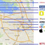 Les principaux sièges sociaux : Google, Apple, Facebook, Netflix, Tesla, Cisco, et les autres.