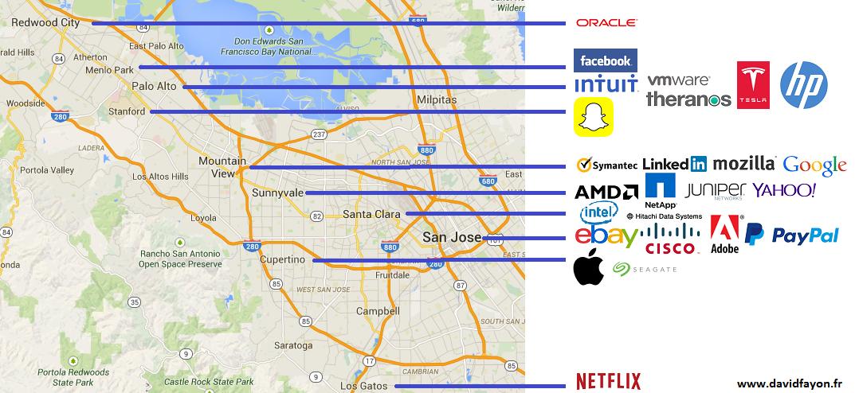Carte des sièges sociaux des entreprises de la Silicon Valley
