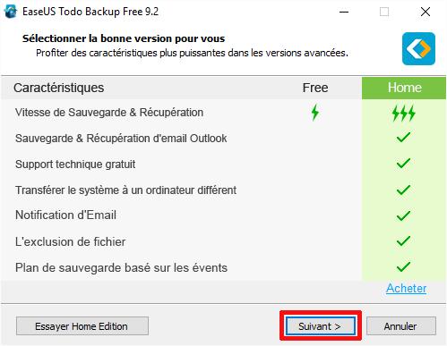 Différences fonctionnelles entre la version gratuite et la version
