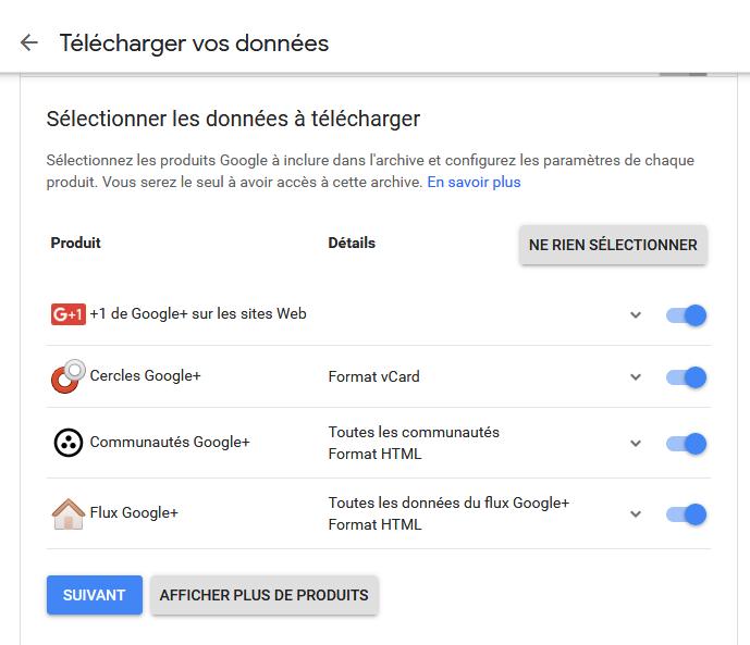 Récupérer ses données sur Google Plus
