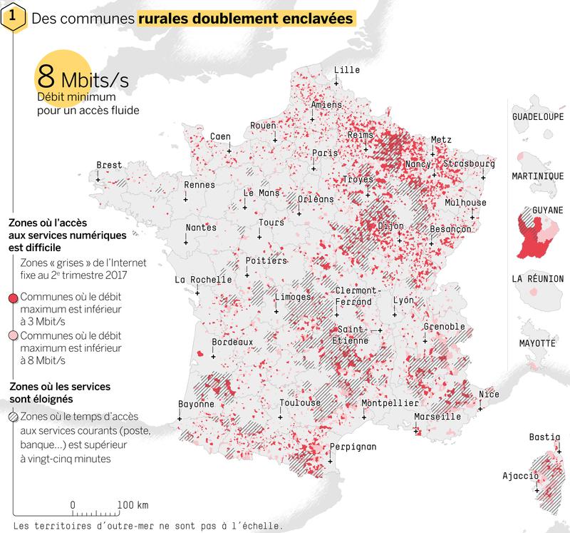 Les zones d'ombre en France pour la couverture réseau