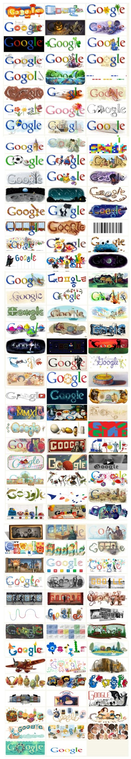 Collection de logos commémoratifs Google baptisés doodles