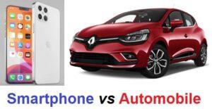 Comparaison dépenses automobile vs smartphone