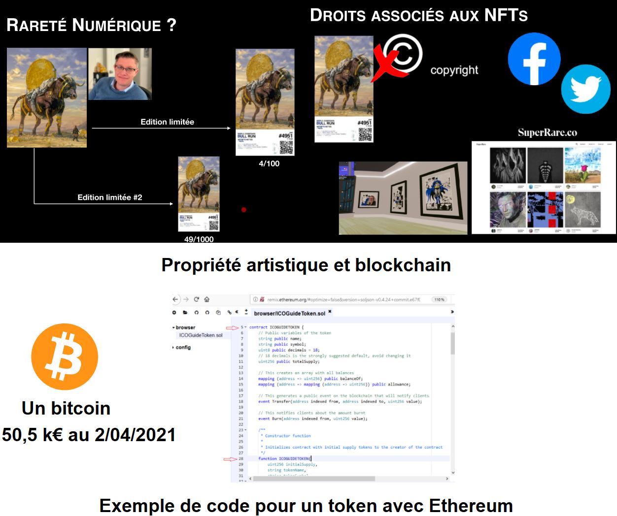 Différents aspects de la blockchain, exemple de l'art et certification des oeuvres, bitcoin et exemple de token