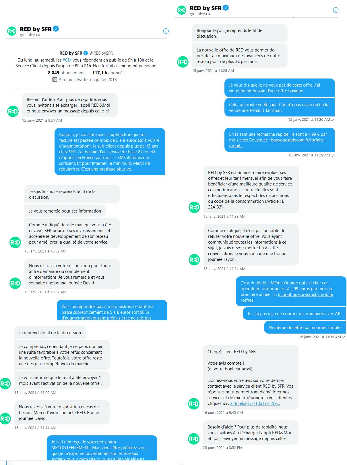 extraits d'échanges avec le compte Twitter de SFR et alternativement bots et humains